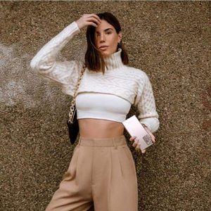 Zara Cable Knit Arm Warmer Scarf Sweater